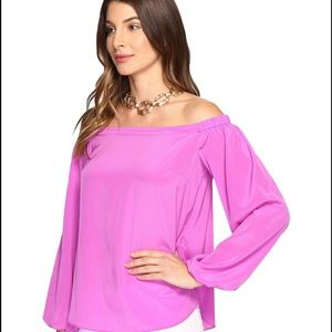 Lily Pulitzer Off the Shoulder Silk Blouse